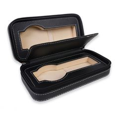 Personalized Portable Watch Case for 2 Watches - Black