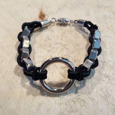 Hex Nut Bracelet, Leather Braid Bracelet, Metal Jewelry, Unisex Jewelry, Industrial Jewelry, Green Leather, Handmade Jewelry, Metal Fashion by CreativeMarc on Etsy