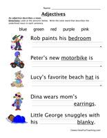 Adjective Worksheet Look at the pictures below. Write the