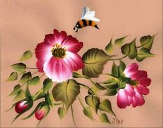 One Stroke Vibrant Flowers course..students learn wild roses, bees, and complete design.