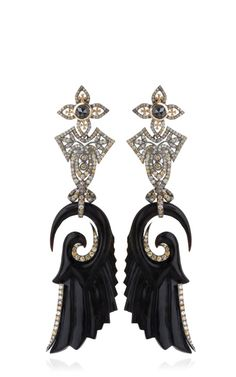 Shop Carved Jet And Diamond Earrings by Bochic  - Moda Operandi