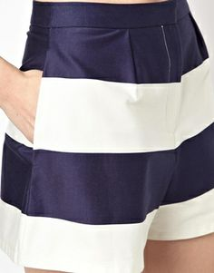 Summer shorts if feeling brave enough for bare legs. Image 3 ofASOS High Waisted Shorts in Wide Stripe