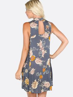 Online shopping for Floral High Neck Sleeveless Dress NAVY from a great selection of women's fashion clothing & more at MakeMeChic.COM.