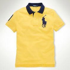 Ralph Lauren Men Navy Big Pony Polo Yellow