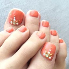 31 Adorable Toe Nail Designs For This Summer - 101 NailDesign Teen Nail Designs, Pedicure Nail Designs, Orange Nail Designs, Creative Nail Designs, Pedicure Nails, Beautiful Nail Designs, Cute Nail Designs, Fun Nails, Toenails