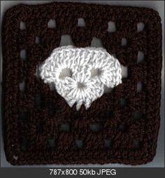 Ravelry: inches skull granny square pattern by Amelia Beebe Granny Square Crochet Pattern, Crochet Squares, Crochet Motif, Diy Crochet, Crochet Patterns, Granny Squares, Crochet Granny, Crochet Things, Crochet Skull