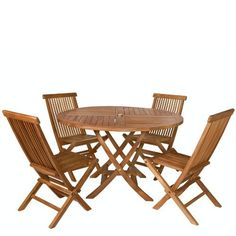 TEAK Outdoor Dining Chairs/Table Sets and Patio Furniture Round Table Set by Individual Patio. $779.00. 1-7/8 inch Umbrella Hole Includes Brass Grommet and Cap. 5 pc. Set. Solid Teak. Teak Oiled Finish. 48w x 48d x 29h. This patio set is constructed of solid Teak using mortise and tennon joinery. The table is offered in a 48 inch round as shown here or octagon shape and has 1-7/8 inch umbrella hole with lower pole stabilizer to accept our Teak Market Umbrella.