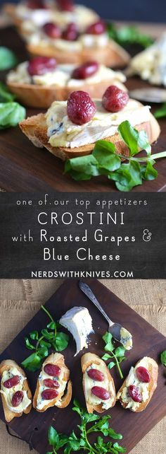 Crostini with Blue Cheese and Roasted Grapes Crostini is just a fancy word for a a tiny toasty with delicious toppings. They're an easy, versatile and crowd-pleasing party snack. Old Recipes, Wine Recipes, Great Recipes, Snack Recipes, Yummy Recipes, Recipe Ideas, My Favorite Food, Favorite Recipes, Best Cookbooks