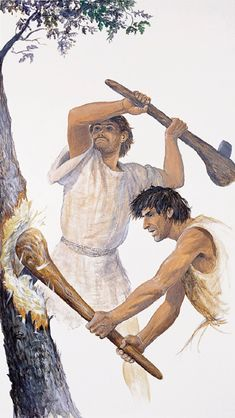Neolithic men chopping down a tree by Gilles Tosello Aztec Weapons, Paleolithic Period, Prehistoric Man, Primitive Survival, Indigenous Tribes, Early Humans, Art Premier, Stone Age, Ancient Artifacts