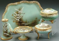 Nippon Five Piece Snow Geese Scenic Jeweled Porcelain dresser set from circa 1900 with hand painted and enameled jewel decoration on robins egg blue ground Porcelain Jewelry, Fine Porcelain, Snow Goose, Limoges China, Dresser Sets, Garden Seating, Vanity Set, Belle Epoque, Home Decor Accessories