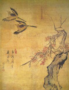 (Korea) 고목비금 by Danwon Kim Hong-do (1745- 1806). color on silk. Gansong gallery, Korea. 고목비금도.