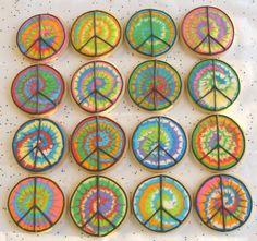Tye Dye Peace Sign Cookies
