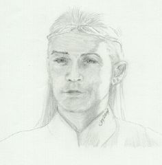 Tolkien character, Legolas, graphite drawing, pencil sketch on paper.