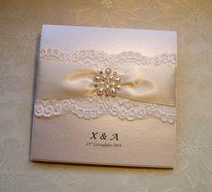 k0029 chanel ivory lace satin bow wedding invitation, vintage lace, Wedding invitations