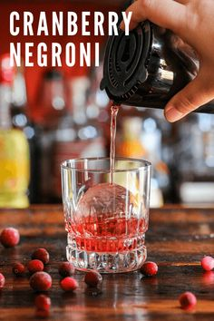 This Cranberry Negroni cocktail is a great classic variation choice. Cranberries make for a great holiday flavor choice for this cocktail recipe. Winter Cocktails, Christmas Cocktails, Classic Cocktails, Fun Cocktails, Negroni Cocktail, Cocktail Drinks, Cocktail Ideas, Whiskey Drinks, Gin Recipes