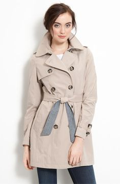 DKNY Trench Coat with Chambray Trim - Nordstroms