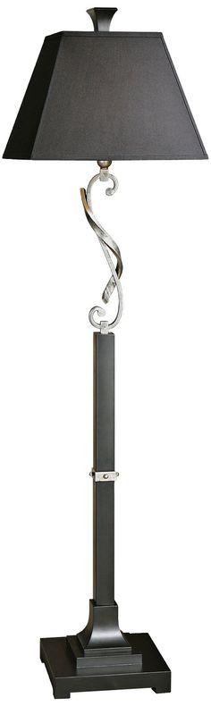 Tafeta Black and Silver Leaf 69-Inch-H Uttermost Floor Lamp - EuroStyleLighting.com #EuroStyleHoliday