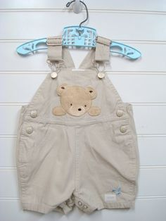 Vintage Baby Clothes/Baby boy coveralls With Teddy Bear