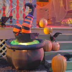 Oops! This Halloween Inflatable Witch in Cauldron got a taste of her own spooky medicine. This clever Halloween inflatable will make your neighbors do a double-take. At five feet tall, the witch legs appear to kick like she's fallen into her own strange brew.