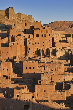 the ancient kasbah of Ait Benhaddou UNESCO World Heritage Site at sunrise, Morocco