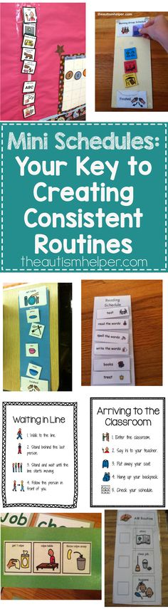 Never underestimate the importance of mini schedules. They show embedded steps & routines, help makes students more independent, & work great for inclusion. Sold? Head to the blog for more!! From theautismhelper.com #theautismhelper