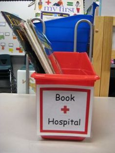 """damaged books go into the """"book hospital"""" so the teacher can repair them later"""