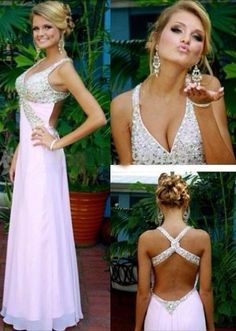Modest Prom Dresses,V-neck Prom Dress,Pink Prom Dress,Pink Evening Dress,Beading Evening Dresses,Sexy Party Dresses