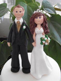personalised bride and groom wedding cake topper  all handmade, customised. £75.00, via Etsy.