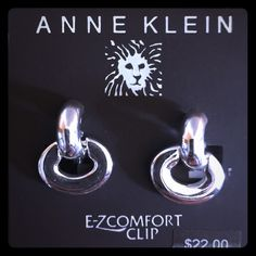 🆑ANNE KLEIN clip earrings🆑 Beautiful silver clip on earrings!!! Anne Klein Jewelry Earrings