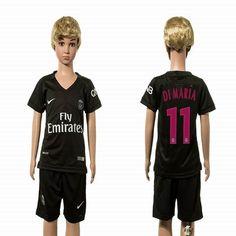 2015-2016 Paris Saint-Germain DIMARIA #11 black kids soccer jersey away
