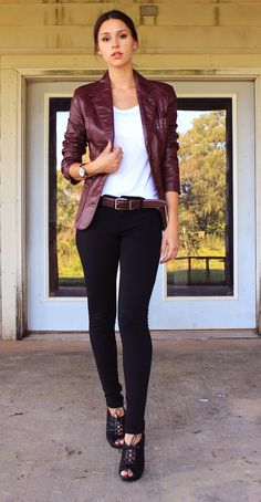 Oxblood leather blazer