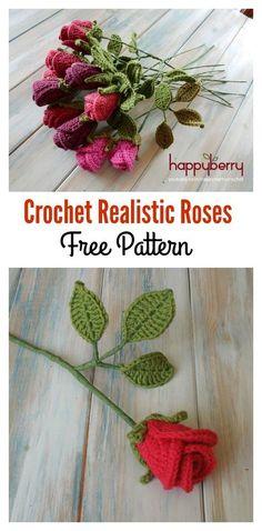 Crochet Realistic Roses Free Pattern & Video Tutorial
