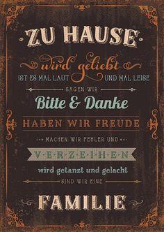 Postkarte - zu Hause - Familienregeln