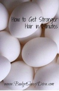 """How to Get Stronger Hair in Minutes - The article writers says, """"Never did I think I would be using RAW EGGS on my own hair, but the results are incredible. Yes it's as simple as cracking an egg into your hands and rubbing it in your hair. Once you feel that you are ready to rinse your hair, just wash it with shampoo and enjoy beautiful shiny and stronger hair! I must try this!"""