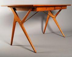 Kurt Østervig; Teak and Brass Desk for Jason Furniture, 1950s.