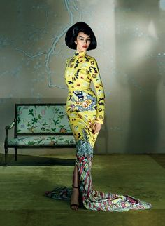 fei fei sun by steven meisel vogue us yves saint laurent dress by tom ford 2015 Vogue Editorial, Editorial Fashion, Fei Fei Sun, Steven Meisel, Yves Saint Laurent, Saint Laurent Dress, Paul Poiret, Édito Vogue, Fashion Fotografie