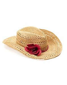 Leather Flower Straw Cowboy Hat - Accessories - Lucky Brand Jeans