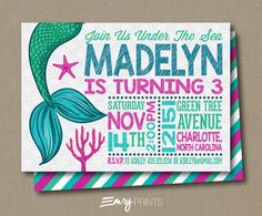 Mermaid Birthday Invitation / Under the Sea by EmryPRINTS on Etsy