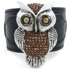 """Crystal Owl Leather Bracelet-Cuff Bangle-(Full Brown/Black/Silver)-Womens  Color: Full Brown/Black/Silver  Width: 64mm (2.5"""") and Length: 8"""" (20.3cm).  Material: Alloy Leather  Please review shipping charges and details."""