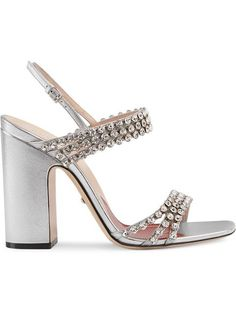 96a837a9cae0 Gucci Metallic Leather Sandal With Crystals - Farfetch Gucci Baby