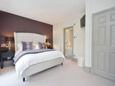 Bedroom, Feature wall, White, Interior, Design