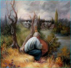 Stare at Oleg Shuplyak's painting, you may find one more illusion element that is hiding inside! Shared Stunning Illusion Paintings by Oleg Shuplyak here. Illusion Kunst, Illusion Art, Optical Illusion Paintings, Optical Illusions, Illusion Pictures, Photo Images, Hidden Face, Art Design, Face Art