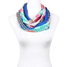 Gaudi Scarf White Blue Pink, 69€,  by SAAKO !!