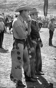 TWO GENERATIONS OF BRONC RIDERS - Bill Linderman of Red Lodge, Montana with Casey Tibbs of Fort Pierre, South Dakota - Match Saddle Bronc Riding - South Dakota Bareback Riding, Cowboy Pictures, Rodeo Cowboys, How Bout Them Cowboys, Bull Riders, Cowboy And Cowgirl, Country Boys, Old West, Westerns