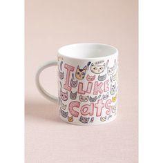 One Hundred 80 Degrees Sense of Paw-pose Mug featuring polyvore, home, kitchen & dining, drinkware, colorful coffee mugs, white coffee cups, cat coffee mug, kitty coffee mug and ceramic mug