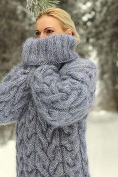 SUPERTANYA GREY Hand Knitted Mohair Sweater Fuzzy Handgestrickte Thick Jumper in Kleidung & Accessoires, Damenmode, Pullover & Strick | eBay!