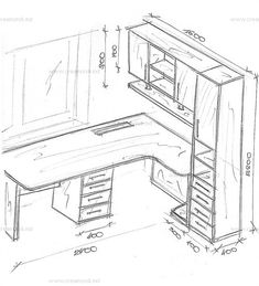 Small Office Design, Home Office Design, House Design, Furniture Plans, Home Furniture, Furniture Design, Study Table Designs, Drawing Furniture, Desk Plans