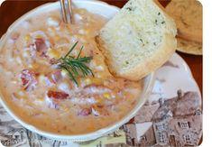 Sherelle's Corn, Bacon, & Cheese Chowder & Parmesan, Basil, &...