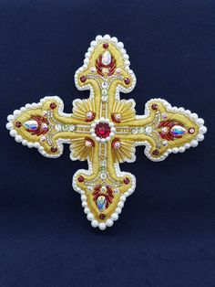 A luxurious set of embroidered crosses for priestly vestments. Swarovski stones, pearls. Beads and bugles are Japanese. Unique handmade.