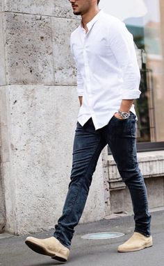 Casual shirt outfits for men. Learn how to wear casual shirt like a streetstyle star. We all love wearing casual shirts, right? A casual shirt is comfortable, easy to maintain and if you Chelsea Boots Outfit, Chelsea Boots Style, Mens Fashion Blog, Mens Fashion Suits, Men's Fashion, Fashion Ideas, Fashion Shoes, French Fashion, Latest Fashion